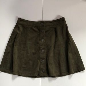 Forever 21 suede green button down mini skirt
